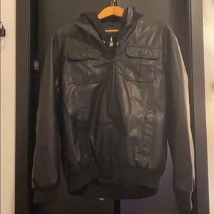 Other - Hooded Black Leather Jacket
